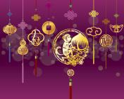 CNY monkey background with golden decoration