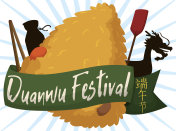Zongzi Dumpling and Emblematic Elements For Duanwu Festival Celebration
