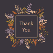 thank you floral twigs branches frame greeting card background