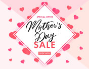 Mother`s Day sale banner elegant lettering and pink hearts