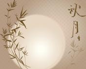 Mid Autumn full moon and bamboo illustration