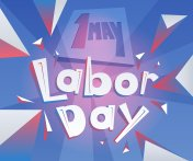 Geometrical lettering 1 May Labor Day. International Workers Day