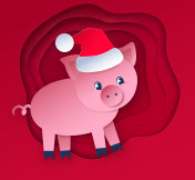 Cut paper style illustration of New Year Pig