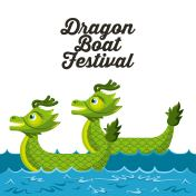 dragon boat festival with green dragons in sea poster