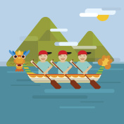 Dragon boat on the sea in flat design style