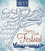 Dragon Boat Race Poster in Hand Drawn Style