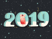 New Year Banner with Cute Pig