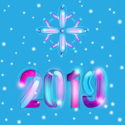 2019 New Year Card Design with Snowflakes