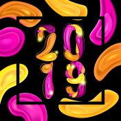 2019 New Year Colorful Card with Abstract Elements