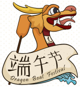 Golden Dragon Head, Paddle and Scroll for Dragon Boat Festival