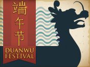 Silhouette with Dragon Boat and Ribbon for Duanwu Festival