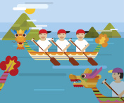 Dragon boat behind the mountains in flat design style