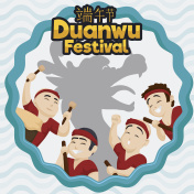 Happy Team of Rowers with Dragon Silhouette for Duanwu Festival