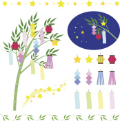Set of star festival ornaments - TANABATA