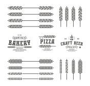 Set of stylized ear wheat