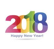 Happy new year 2018 Text Design vector