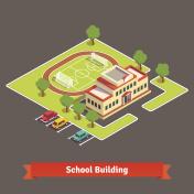 Isometric college campus or school building