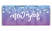 New Year 2018. Card template with glowing garlands and hand lettering New Year. New Year 2018