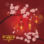 Chinese New Year card with plum blossom, lantern