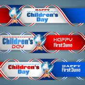 Set of banners for Children's day celebration