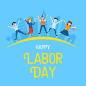 Labor Day Banner, People with different Occupation, Vector Illustration