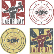Labor Day labels with the hand of worker