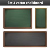 set 3 vector chalkboard school supplies illustration
