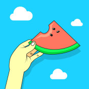 illustration of a hand with watermelon