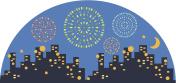 Urban night fireworks display
