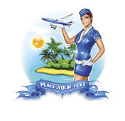 Travel poster with stewardess