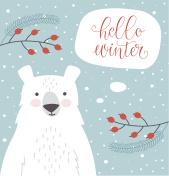 Hello winter card with cartoon bear.