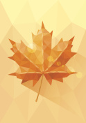 Yellow orange low poly maple leaf