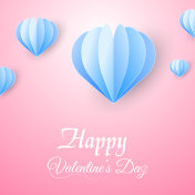 Valentine's day greeting card with flying paper hearts on pink background. Vector.