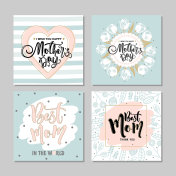 Set of postcards for mother's Day with flowers and modern calligraphy. Vector illustration.