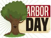 Happy Tree over Reminder to Celebrate Arbor Day