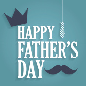 Fathers Day blue poster with hanging tie