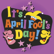 April Fool's Day design with funny letters, laughing cartoon faces and jester's hat.