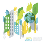 Environmental and ecology vector illustration. Abstract geometric background for save earth day.