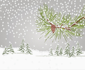 Winter pine branch with snow and pine cone christmas theme vector