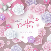 Mother's day card concept design of paper hearts shape and flowers vector illustration