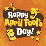 April Fool's Day design with funny letters, laughing cartoon faces and stars