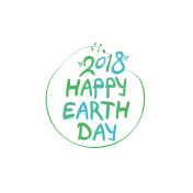 Concept 2018 Happy Earth Day. Round green vector template.