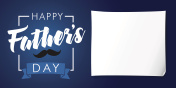 Happy Fathers Day lettering banner dark blue