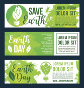 Save nature and earth environment vector banners