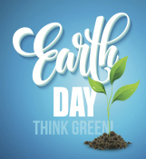 Earth Day poster. Vector illustration with the Earth day lettering