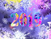 2019 New Year multicolored bright greeting banner 2