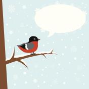 Cute winter bullfinch bird on a branch