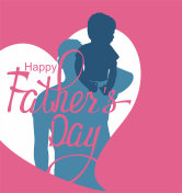Happy father's day poster with silhouettes of man and boy. Vector illustration