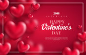 hearts on red background with thin frame