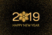 New Year 2019 greeting card. 2019 golden New Year sign with golden snowflake and glitter on dark background. Illustration of happy new year 2019.